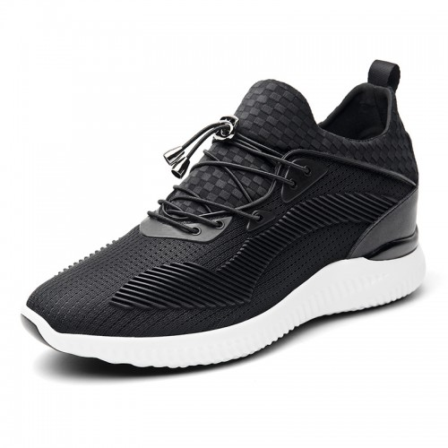 Lightweight Heighten Men Fashion Sneakers Gain Taller 3.2inch / 8cm Black-White Lycra Leisure Sports Shoes