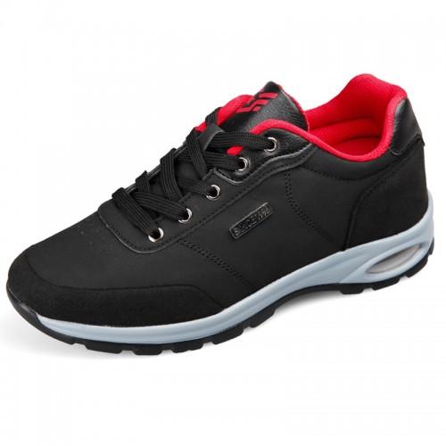 Lightweight Elevator microfiber Shoes heel height sneakers 2.6inch / 6.5cm Black