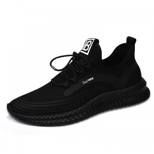 Black Hidden Heel Sneakers Mesh Knit Men Taller Running Shoes Increase Height 3.2inch / 8cm
