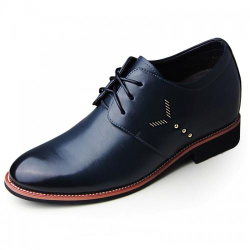 Blue confortable soft vamp elevator shoes 6.5cm / 2.56inch gain altitude business shoes