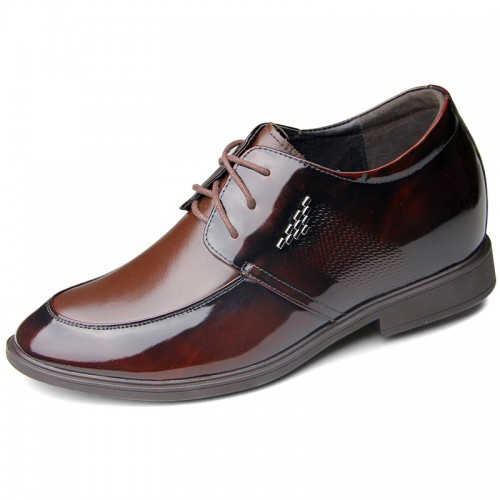 Brown shining matte dress shoes hidden hieght 6.5cm / 2.56inch elevated groom shoes