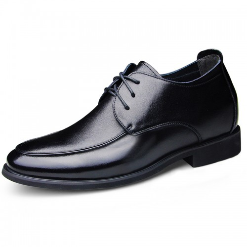 Soft leather shoes height increasing 6.5cm / 2.56inch lace up elevator formal shoes