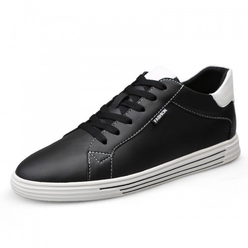 Comfortable Low Top Elevator Skate Shoes for Men Increase 2.6inch / 6.5cm Black Leather Casual Walking Shoes