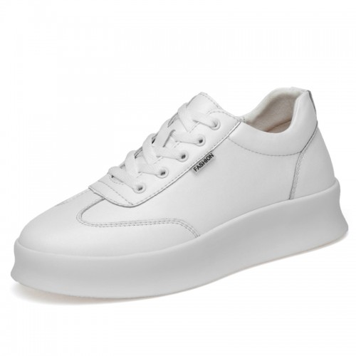 2020 Easy Match Hidden Height Men Skate Shoes Increase 3inch / 7.5cm Low Top White Leather Fashion Sneakers