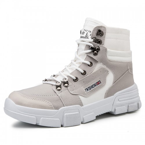British Height Chukka Boots White Canvas Martin Boots Elevator Worker Boots Taller 3.2inch / 8cm