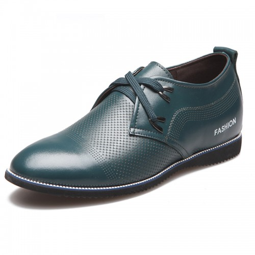 Deep green height increasing doug shoes 6cm / 2.35inches hollow casual taller shoe