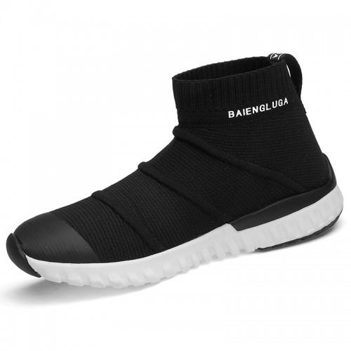 Elevator sock shoes for men Black-White Slip On Flyknit Fashion Sneakers Taller 7cm / 2.8inch