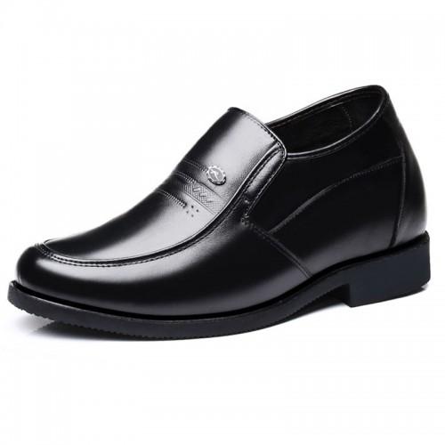 Black Hidden Heel Men Dress Shoes Slip On Formal Loafers Increase Tall 3.2inch / 8cm