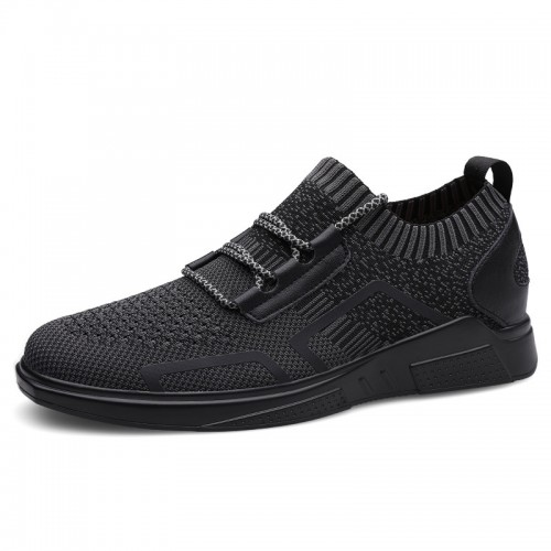Black Daily Sneakers Make You Taller Slip On Walking Shoes Elevator Sock Flyknit Loafers Increase 2.6inch / 6.5cm