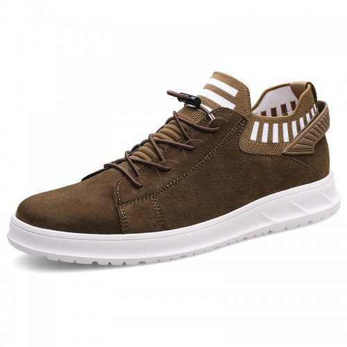 Slip On Hidden Lift Sock Sneakers Increase height 2.4inch / 6cm Lightweight  Khaki Soft Leather Upper Elevator Loafers