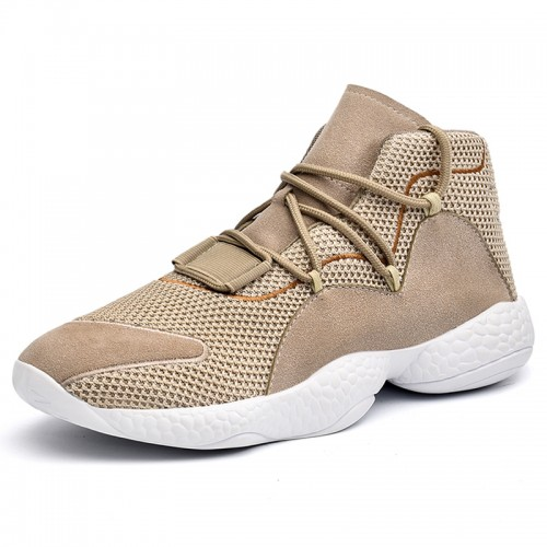 High Top Lifts Sneakers Get Taller 3.2inch / 8cm Beige Breathable Altitude Walking Shoes