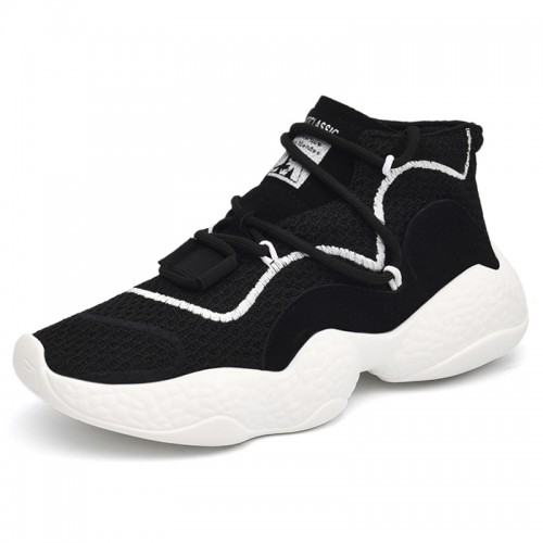 High Top Lifts Sneakers Make Your Taller 3.2inch / 8cm Black Breathable Elevator Walking Shoes