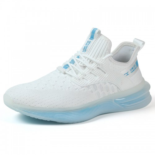 Blue Elevated Minimalist Sneakers Soft Flyknit Workout Shoes Increase Height 2.4 inch / 6 cm