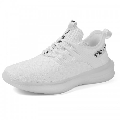 White Elevator Minimalist Sneakers Soft Flyknit Workout Shoes That Give Your Height 2.4 inch / 6 cm