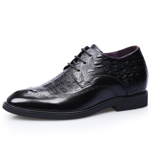 Black Elevator Brogue Shoes for Men Taller 2.8inch / 7cm Croc Pattern Wing Tip Formal Business Shoes