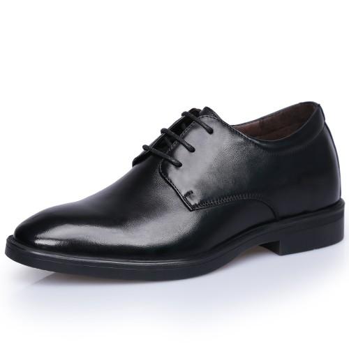 Black European Elevator Wedding Shoes for Men Increase 2.8inch / 7cm Comfortable Taller Dress Formal Shoes