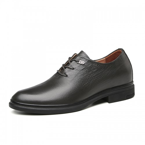 Dark Gray Celebrities Elevator Oxfords for Men Increase 2.4 inch / 6 cm Genuine Leather Formal Dress Shoes