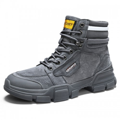 Height Elevator Military Boots for Men Get Taller 3.2inch / 8cm Grey Breathable Lace Up Work Boot