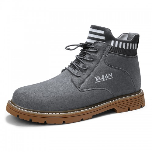 Slip On Hidden Lift Boots Grey Imitation Cowhide Chukka Boot Elevator Work Boots Taller 3.2inch / 8cm