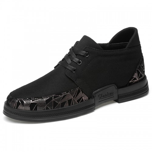 2019 British Taller Fashion Sneakers Make You Height 2.6inch / 6.5cm Black Canvas Walking Shoes