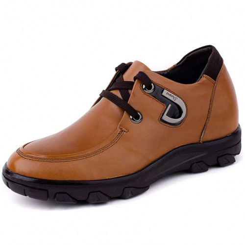 Brown genuine leather height increasing casual shoes add tall 8cm / 3.15inches UK style business leisure shoes