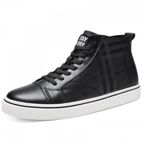 Elevator Hight Top Skate Shoes Black Hidden Lift Damier Sneakers Add Taller 2.4inch / 6cm