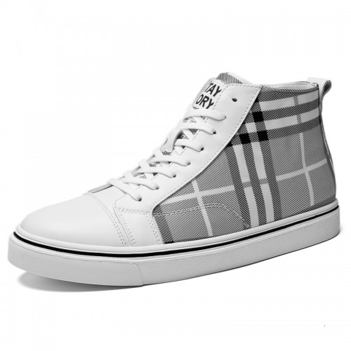 Elevator Hight Top Skate Shoes White Hidden Lift Damier Sneakers Add Height 2.4 inch / 6 cm
