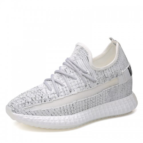 White Flyknit Men Elevted Sneakers Gain Height 3.6inch / 9cm Skateboarding Running Shoes