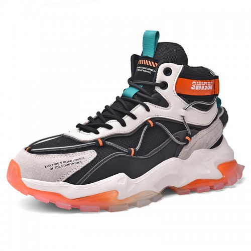 Stylish Elevator Basketball Shoes for Men Boost 3 inch / 7.5 cm Height Increasing High Top Mesh Running Shoes
