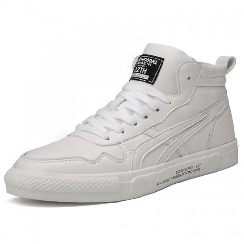 White Campus Men Elevator Skateboarding Shoes Increase 2.8cm / 7cm British Trendy Lift Sneakers