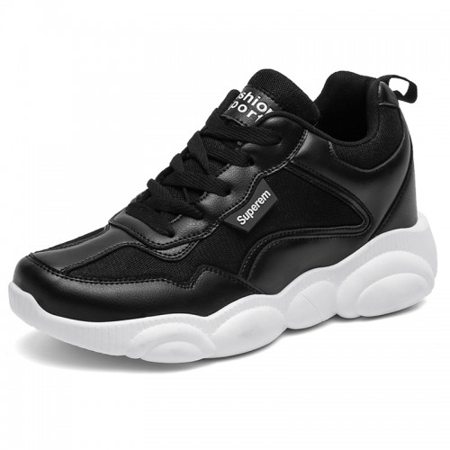 All Match Elevator Dad Shoes Become Taller 3.2inch / 8cm Breathable Men Black Clunky Sneakers