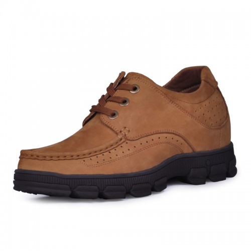 Hot style mens nubuck leather casual height increasing elevator shoes 8cm / 3.15inches taller