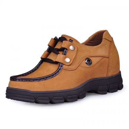 Yellow nubuck leather climbing shoe make taller 8CM / 3.2inches height increasing elevator shoes