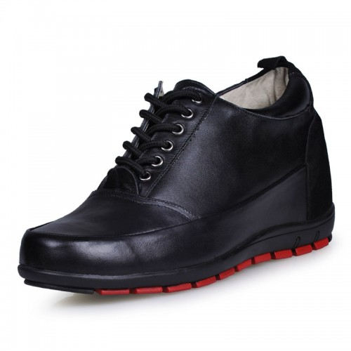 Hot mens black leather casual shoes with 8cm taller height increasing elevator shoes