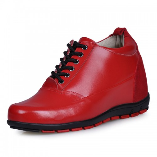mens red leather height increasing shoes 8cm taller casual shoes