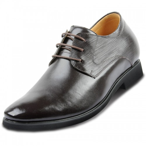 Lace-up mens leather formal business shoes in height increasing lift 2.75inch / 7cm