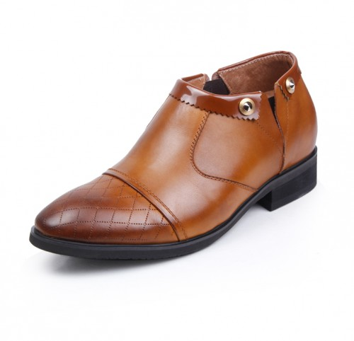 Assembling a tightness of British popular men's leather formal elevator shoes add height 7cm / 2.75inches