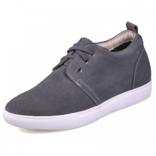 Grey highest quality leather elevator casual shoes make you taller 6cm / 2.36inches