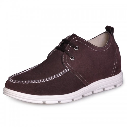 Brown Men's fashion Height Increasing casual shoes can be taller 2 Inches