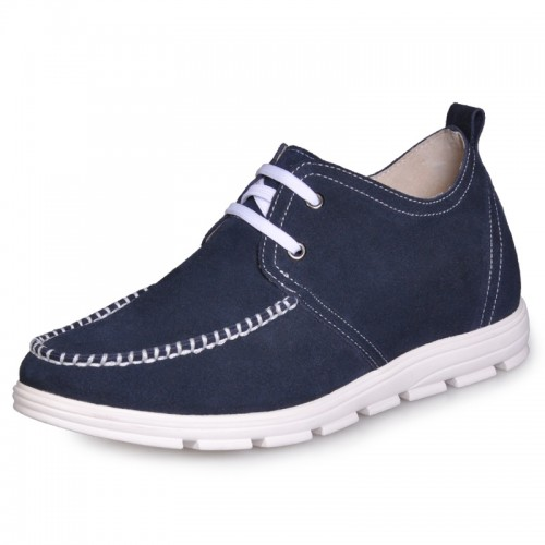 Blue Men's luxury High heel casual shoes grow  taller 2 Inches