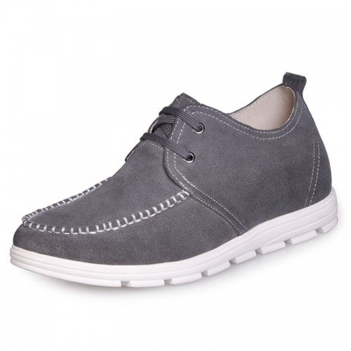 Grey Men's fashion elevator casual shoes make you taller 2 Inches