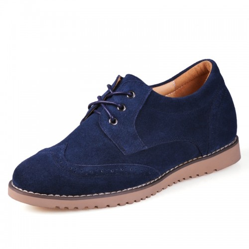 2014 Handmade dark blue men elevator casual shoes get taller 6cm / 2.36inches invisibly