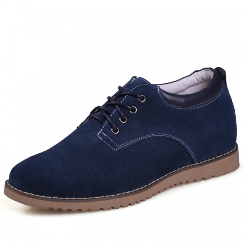 Get taller 6cm / 2.36inches Dark Blue Suede Leather Height Increasing Casual shoes for men
