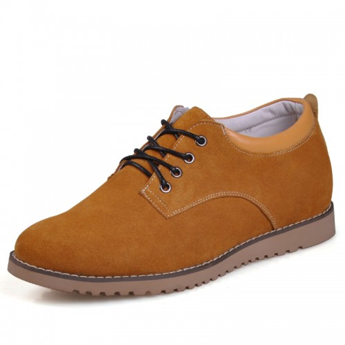 Yellow Suede Leather Increasing Casual shoes for men tall 6cm / 2.36inches invisibly