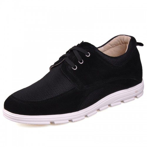 Black Net Cloth Tall Shoes For Men Increaing Height 6.5cm / 2.5inch Suede Leather Casual Shoes