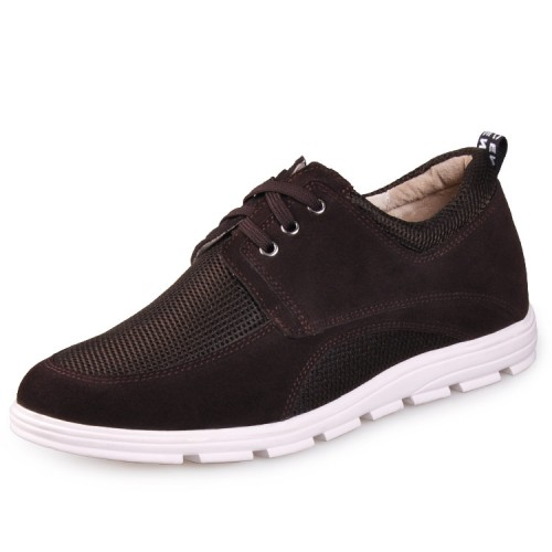 Brown Mesh Height Elevator Shoes For Men Increase Tall 6.5cm / 2.5inches Suede Leather Casual Shoes