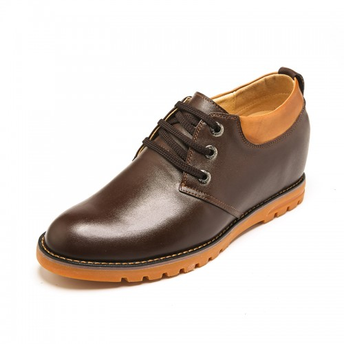 Fashion genuine leather height shoes 7cm / 2.75inch brown plain toe lace up dress shoes