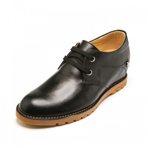 Fashion Cowhide Men's Elevator Casual Shoes 7cm / 2.75inch Black Comfort Lace-up Shoes