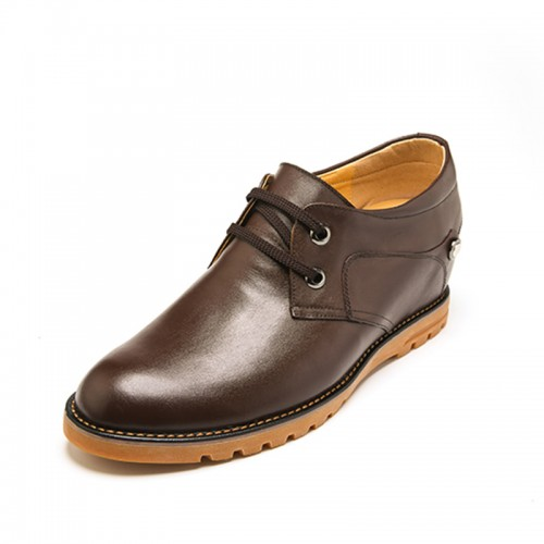 Fashion Cowhide Men's Taller Casual Shoes 7cm / 2.75inch Brown Comfort Lace-up Shoes