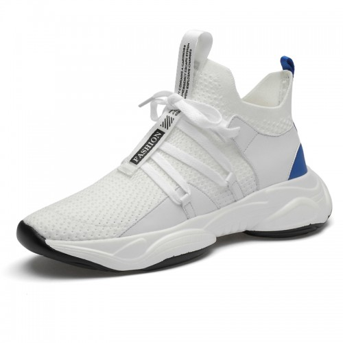 Hidden Height Elastic Fabric Mesh Shoes Gain Taller 3.2inch / 8cm White Lightweight Hollow Out Elevator Sneakers